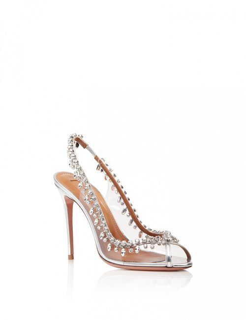 Temptation Crystal Sandal 105 silver, Aquazzura
