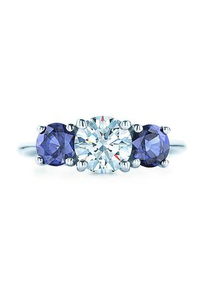 THREE STONE WITH  SAPPHIRE SIDE STONES, Tiffany & Co.