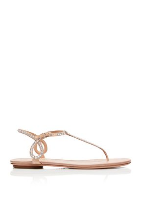 Almost Bare Crystal Sandal Flat, Aquazzura