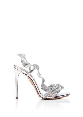 Ruffle Crystal Sandal 105, Aquazzura