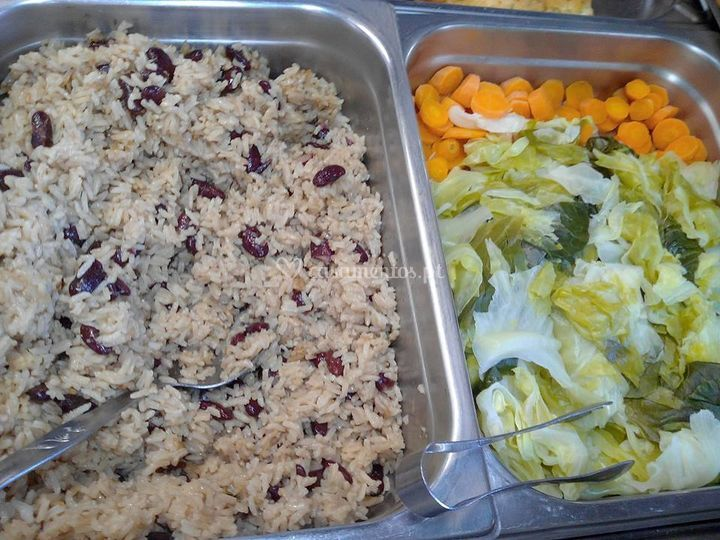 Arroz de feijão e legumes