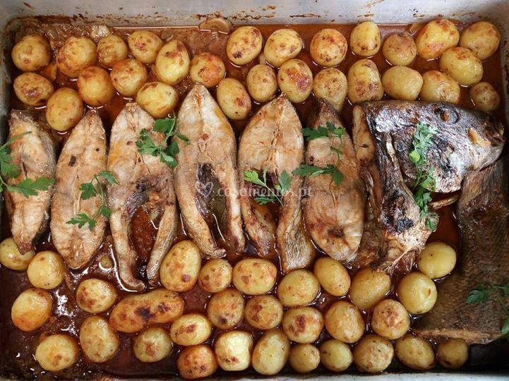 Peixe assado no forno
