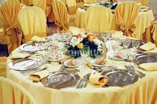 Detalhe da decoração de uma mesa