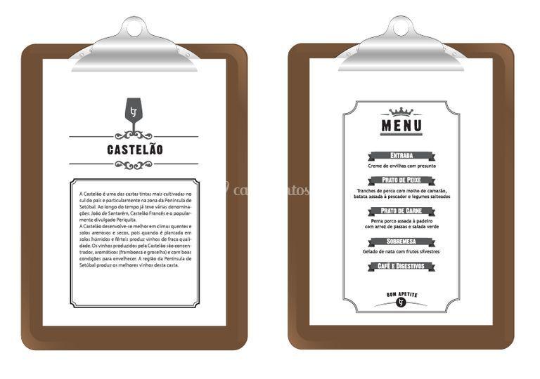 Casamento TJ menu + nome mesa
