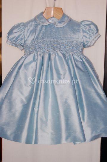 Vestido seda azul