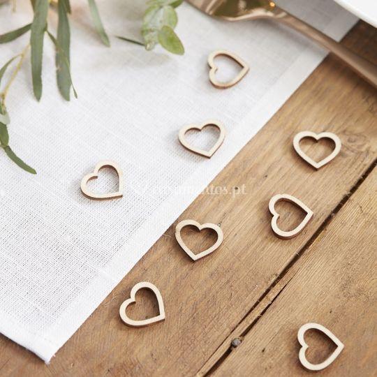 Confettis madeira coração