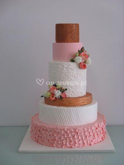 Bolo casamento com texturas