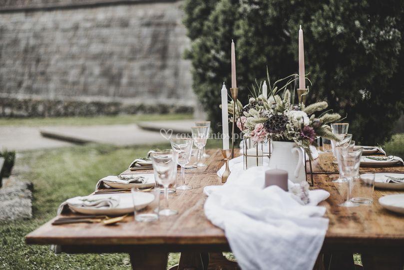 Decoração de mesa rústica
