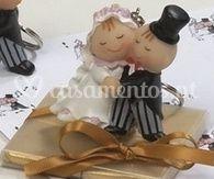 Caixa de 4 napolitanas com porta chaves   Noivos a dançar