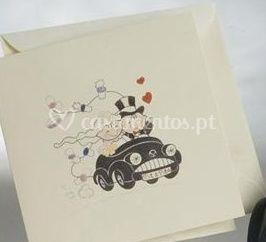 Convites de casamento   Noivos no carro
