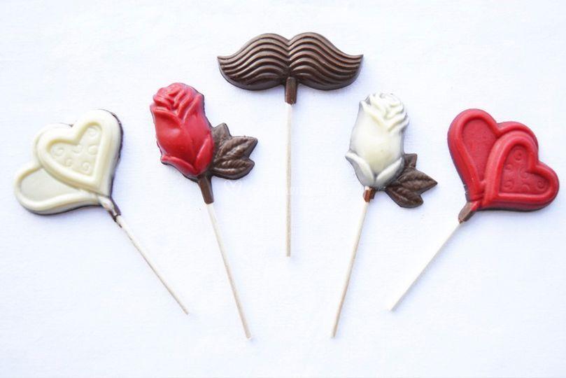 Lollipops de chocolate