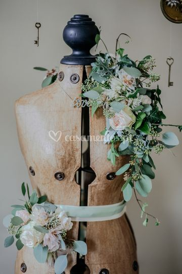 Cinto & echarpe floral