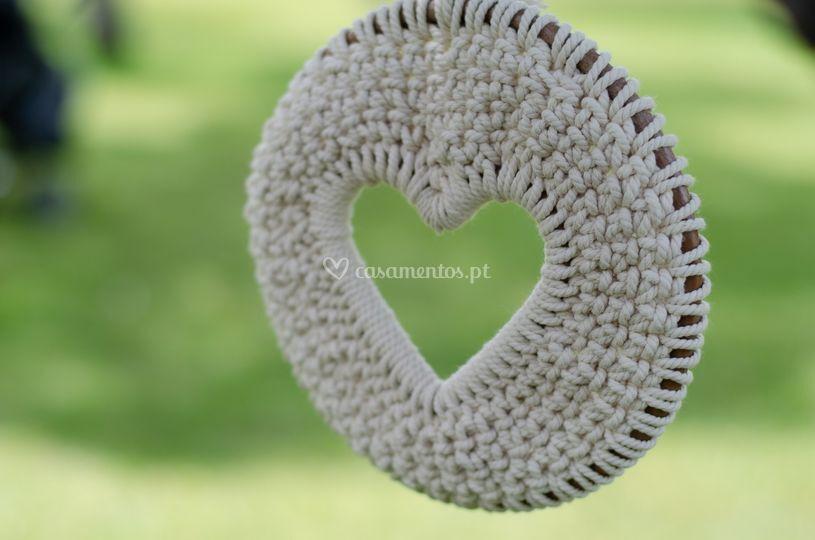 Coração fio de algodão 20 cm