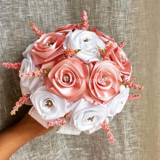 Ramo médio rosa seco e branco