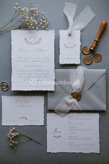 Convite em papel reciclado