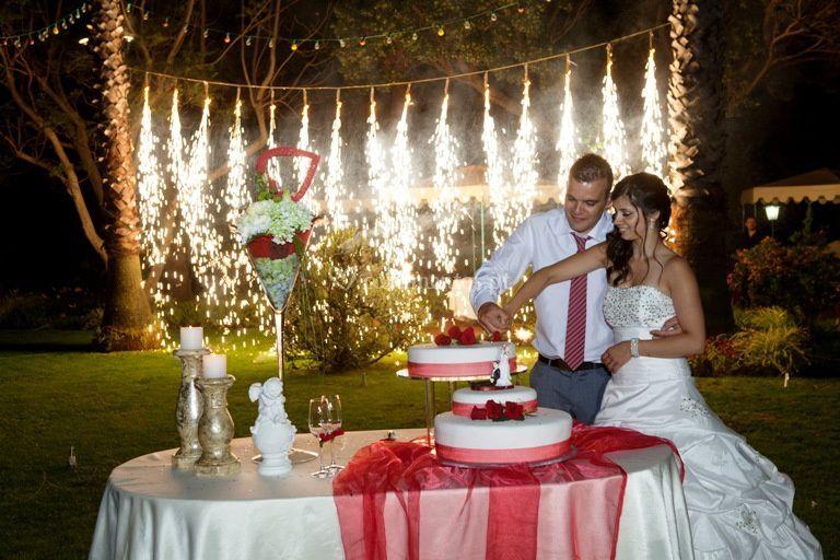 Corte do bolo com cascata