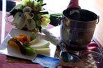 Bouquet, fruta e champanhe