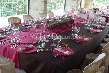 Mesa toalha rosa