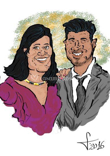 Caricatura casal