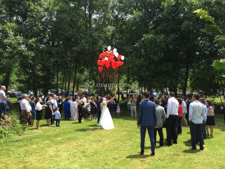 Receção: noivos e convidados
