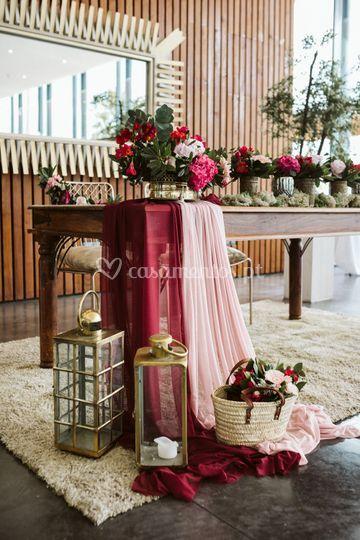Detalhe decoração e mesa noivo