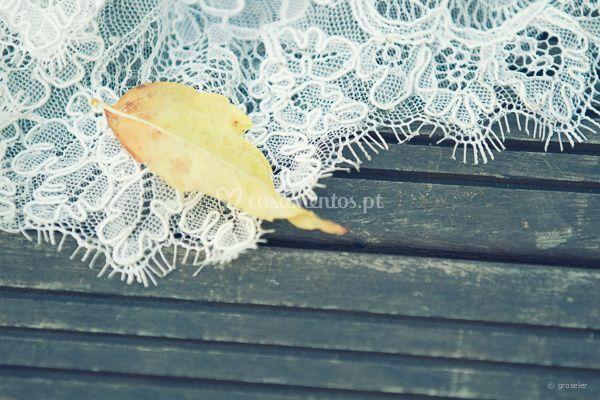 Pormenor vestido noiva Outono