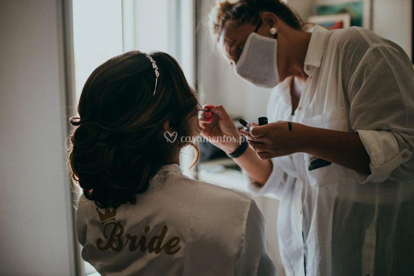 Noiva - maquilhagem  penteado