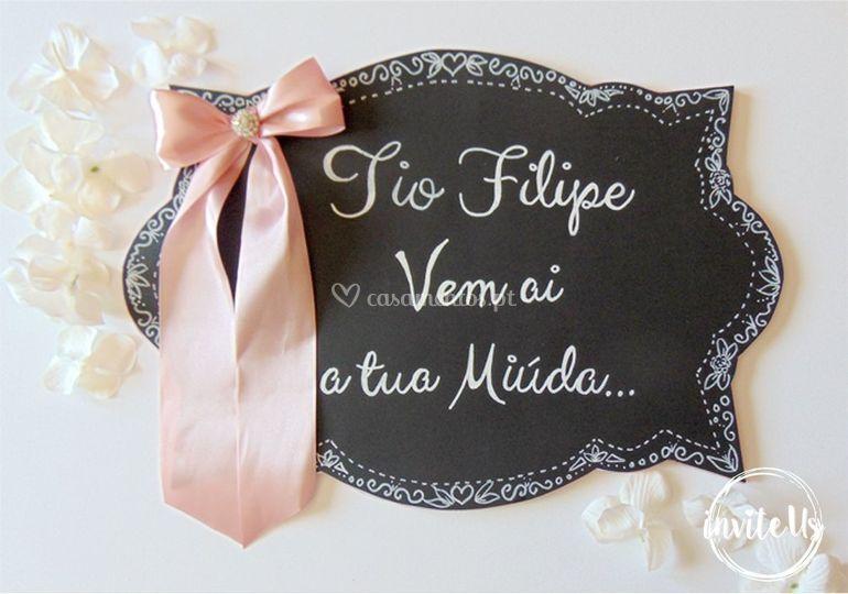Placa de entrada da noiva