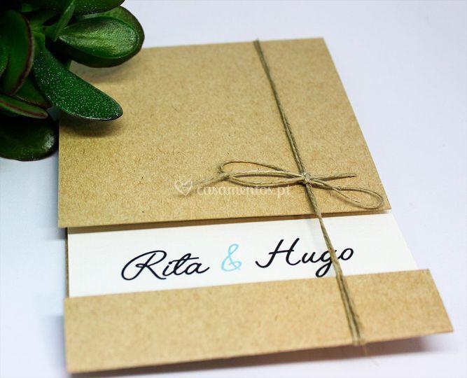 Convite com envelope em tira