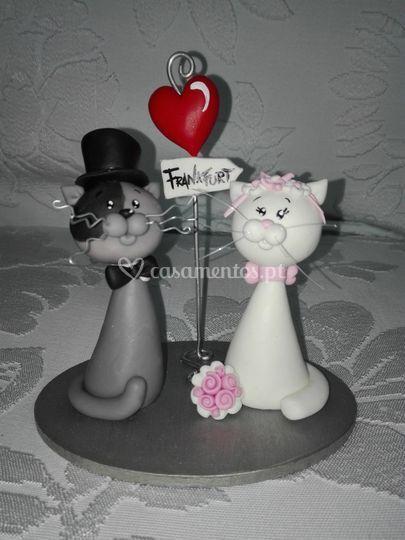 Topo de bolo gatos