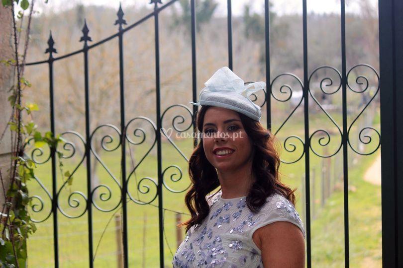 Chapéu pillbox azul claro