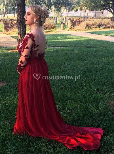 Vestido cerimónia cor vinho