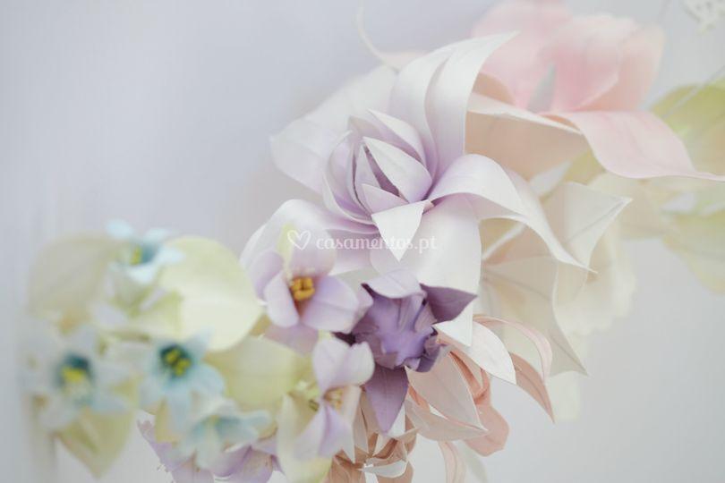 Headband flores seda natural