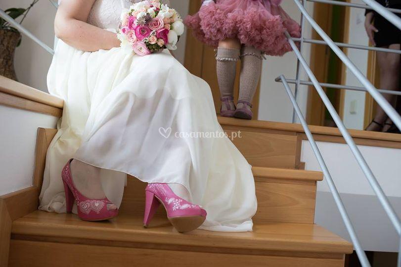 Noiva tons de rosa