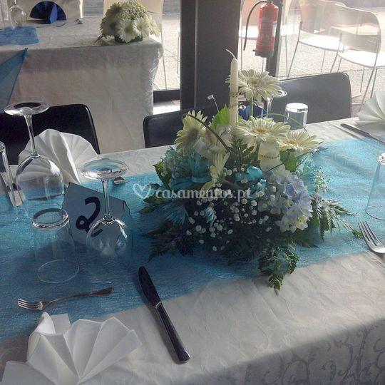 Centro de mesa com vela