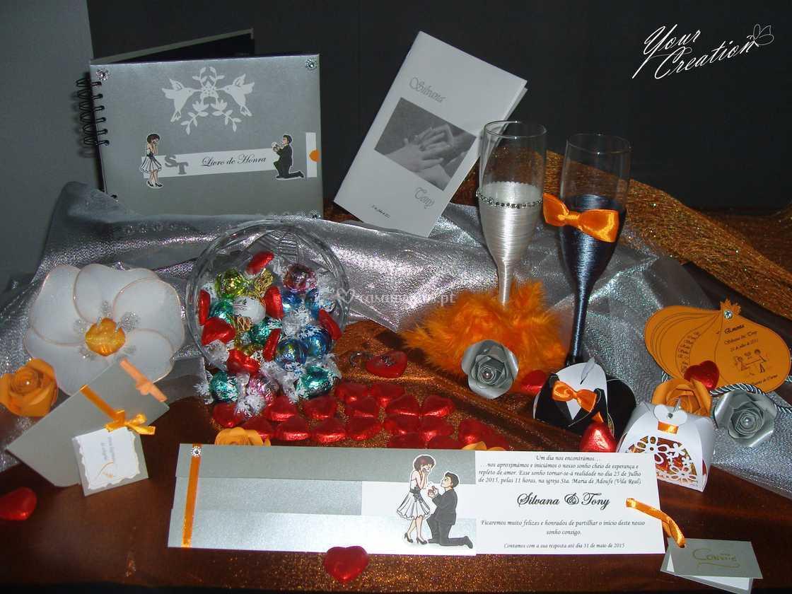 Em tons de laranja e prata