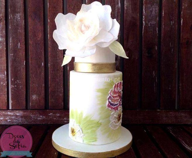 Bolo casamento com flor