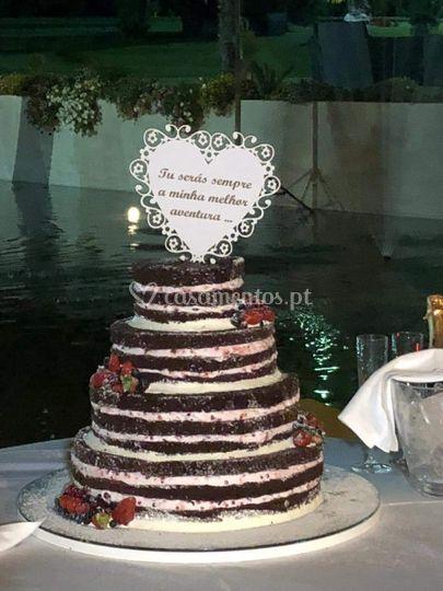 Topo bolo em forma coração