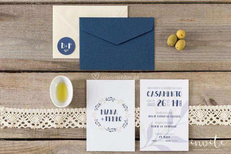 Convite blue olive postal