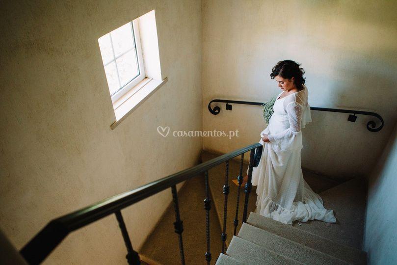 A noiva a caminho da cerimónia