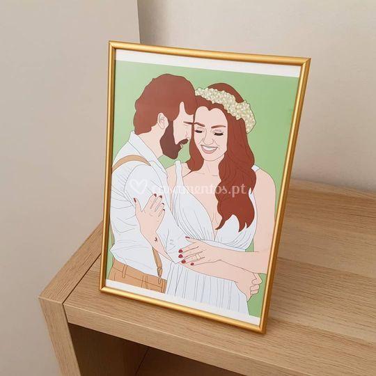 Desenho casal com moldura