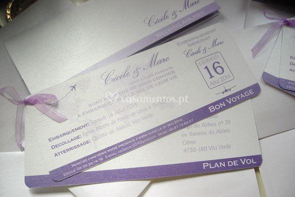 Convite de casamento Avião