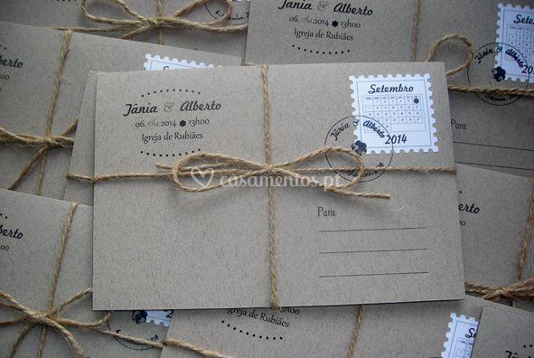 Convite de casamento postal