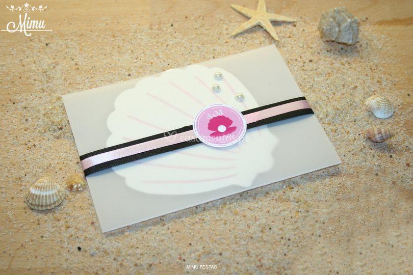 Convite concha - black&pink