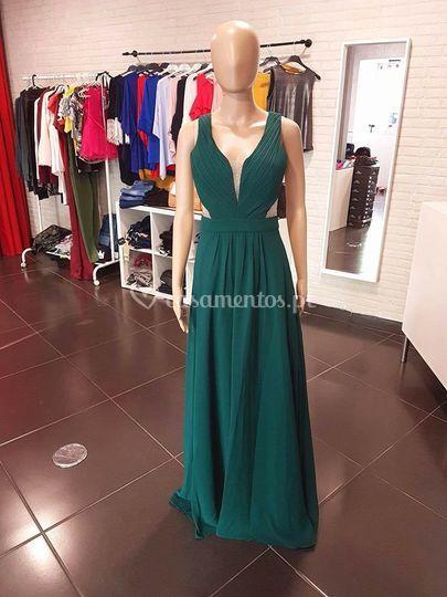 Vestido deusa - verde esmerald