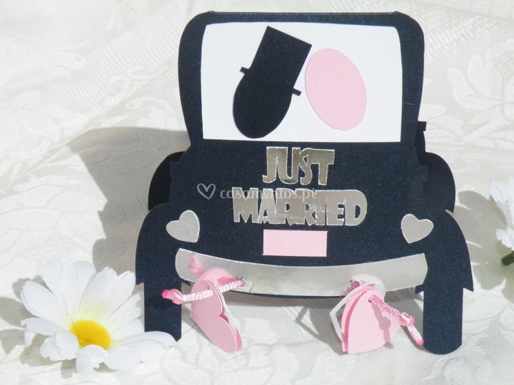 Convite carro de noivos