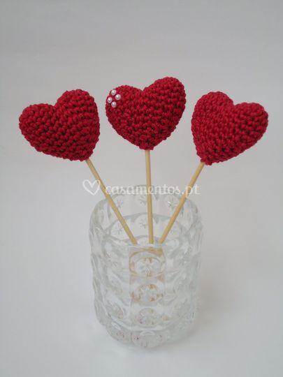 Corações Amigurumi