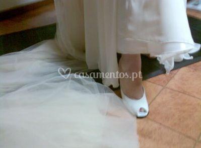 Sapato de noiva forrado