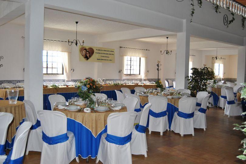 Decoração em azul e branco