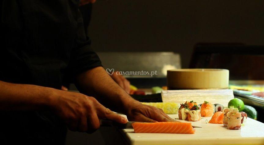 O Chef a trabalhar